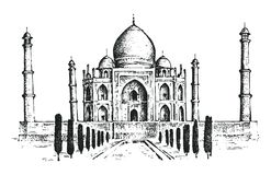Taj Mahal an ancient Palace in India. landmark. Or architecture, hindu Temple. Traditional mausoleum-mosque. engraved hand drawn in old sketch, vintage style royalty free illustration