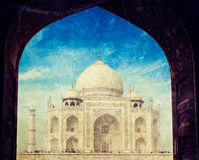 Taj Mahal through arch, Agra, India. Vintage retro hipster style travel image of Taj Mahal through arch, Indian Symbol - India travel background. Agra, Uttar Stock Photography
