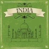 Taj Mahal av Indien för retro loppaffisch stock illustrationer