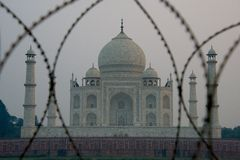 Taj Mahal through barbed wire Royalty Free Stock Images