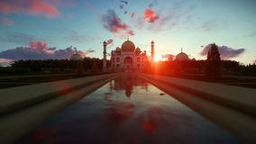 Taj Mahal beautiful sunrise, camera fly stock footage