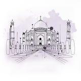 Taj Mahal, beroemde toeristische attractie in India stock illustratie