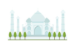 Taj Mahal bright clear day india agra palace travel architecture temple vector illustration. Taj Mahal architecture and Taj Mahal tourism monument. Taj Mahal Stock Images