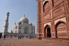Taj Mahal - centro del patrimonio mondiale dell'Unesco fotografia stock libera da diritti