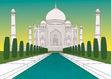 Taj Mahal in colours. Coloured llustration of the Taj Mahal in India stock illustration