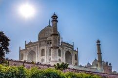Taj Mahal dans la lumière du soleil Tôt le matin, vue arrière derrière la barrière, de l'extérieur, côté de rivière Une des la pl Image libre de droits