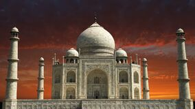 Taj Mahal, de Reis van India, de Zonsopgang van Azië, Zonsondergang stock video