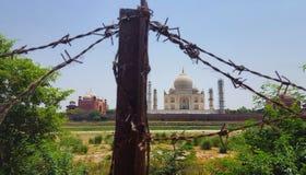 Taj Mahal durch Stacheldraht Stockbild