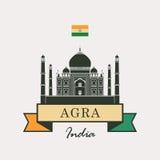 Taj Mahal e indicador indio stock de ilustración