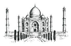 Taj Mahal en forntida slott i Indien landmark royaltyfri illustrationer