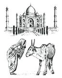 Taj Mahal en forntida slott i Indien munk med kon traditionellt djur gränsmärke eller arkitektur Traditionell mausoleum stock illustrationer