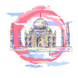 Taj Mahal färg vektor illustrationer