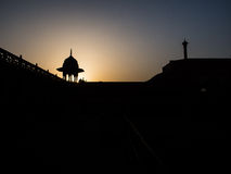 Taj Mahal fench silhouette. The silhouette light in the morning of Taj Mahal, asian 7 wonder Stock Images