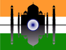 Taj Mahal with flag Stock Photography