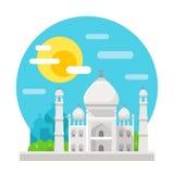 Taj Mahal flat design landmark Stock Photography