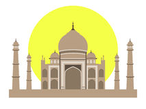 Taj Mahal flat style. Ancient Palace in India  on white background. Royalty Free Stock Images