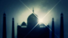 The Taj Mahal through a fog stock footage