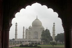 Taj Mahal Framed in Mughal Arch Stock Photography