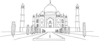 Taj Mahal Free Hand Drawing, indische Monument-Skizze Lizenzfreie Stockfotografie
