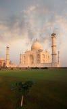 Taj Mahal Front Lawn Sunrise Morning Fiery Sky Royalty Free Stock Photography