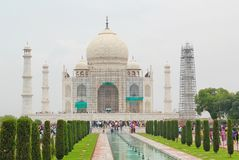 Taj Mahal front view, Agra, India. Taj Mahal is an ivory-white marble mausoleum on the south bank of the Yamuna river in the Indian city of Agra. It was Stock Photography