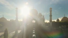 Taj Mahal frontowego widoku timelapse noc dzień ilustracja wektor