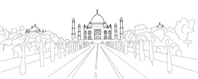 Taj Mahal Hand Drawn Artwork Fotografia de Stock Royalty Free