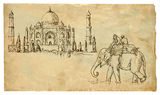 Taj Mahal. An hand drawn illustration converted into vector - Two people on an elephant outside the palace Taj Mahal vector illustration