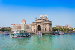 Taj Mahal Hotel and Gateway of India Stock Image