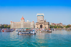 Taj Mahal Hotel and Gateway of India Royalty Free Stock Photo
