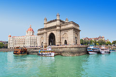 Taj Mahal Hotel and Gateway of India royalty free stock photos