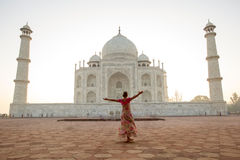 Taj Mahal i soluppgångljus, Agra, Indien Arkivfoto