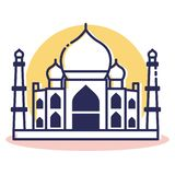 Taj Mahal Icon - lopp och destination vektor illustrationer