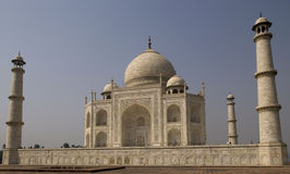 Taj Mahal in India. Taj Mahal stands out against blue sky in Agra Royalty Free Stock Photography