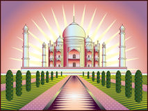Taj Mahal in India. Landscape with Taj Mahal in India illustration in original style stock illustration
