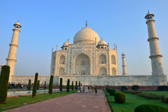 Taj Mahal, India. The Taj Mahal, crown of palaces,  is a white marble mausoleum located in Agra, Uttar Pradesh, India. It was built by Mughal emperor Shah Jahan Stock Images