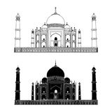 Taj Mahal. India. Outline and Silhouette. Vector. Very High Detail Stock Image