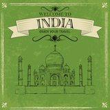 Taj Mahal of India for retro travel poster Royalty Free Stock Image