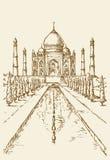 Taj Mahal in India Schizzo di vettore illustrazione di stock