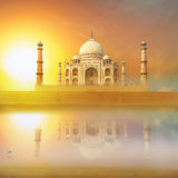 Taj Mahal India Sunset. Agra, Uttar Pradesh. Beautiful Palace with reflection in river. Wonderful landscape Royalty Free Stock Photography