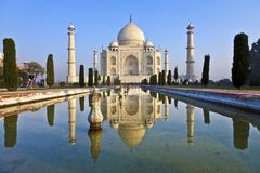 Taj Mahal in India. Under blue sky royalty free stock images