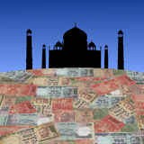 Taj Mahal with Indian rupees Stock Images