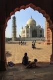 Taj Mahal Indias Seven Wonders-Concept stock afbeeldingen