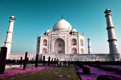Taj Mahal, Infra-Red. The Taj Mahal, crown of palaces,  is a white marble mausoleum located in Agra, Uttar Pradesh, India. It was built by Mughal emperor Shah Stock Photos