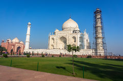 The Taj Mahal is an ivory-white marble mausoleum on the south bank of the Yamuna river in the Indian city of Agra, Royalty Free Stock Photo