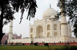 Taj mahal. The Taj Mahal is an ivory-white marble mausoleum on the south bank of the Yamuna river in the Indian city of Agra. It was commissioned in 1632 by the Stock Photo