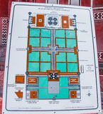 Taj Mahal layout. This is a photograph of the layout of Taj Mahal complex placed in front of the Taj Mahal Gate. One can learn and locate the various structures Stock Photography