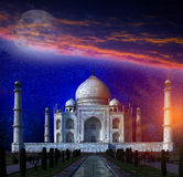 Taj Mahal by the light of the full moon in Agra, Uttar Pradesh, India. Stock Photography