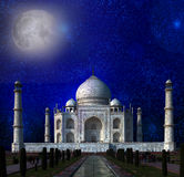 Taj Mahal by the light of the full moon in Agra, Uttar Pradesh, India. Stock Image
