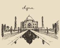 Taj Mahal located Agra Uttar Pradesh India sketch Royalty Free Stock Photos
